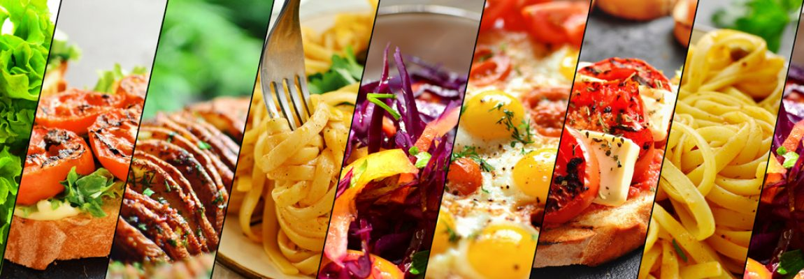 Assortment of vegetarian dishes. Food collage. Food close up. Ve