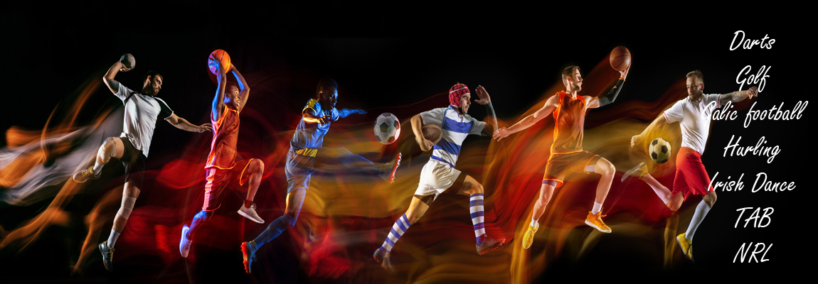 Creative collage of sportsmen in mixed and neon light on black background. Flyer for advertising or proposal. Motion, action, sport, reaching target concept. Soccer, basketball, run, jump, handball.